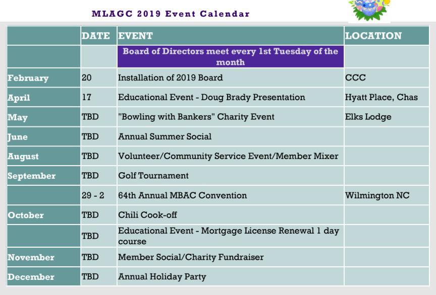 mlagc charleston event calendar